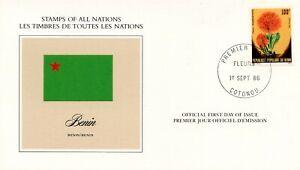 DRAPEAU-PREMIER-JOUR-LES-TIMBRES-DE-TOUTES-LES-NATIONS-BENIN-1986