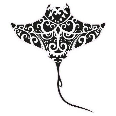 Raie Manta tiki sticker adhésif couleur lézard Taille:4 cm couleur : rose