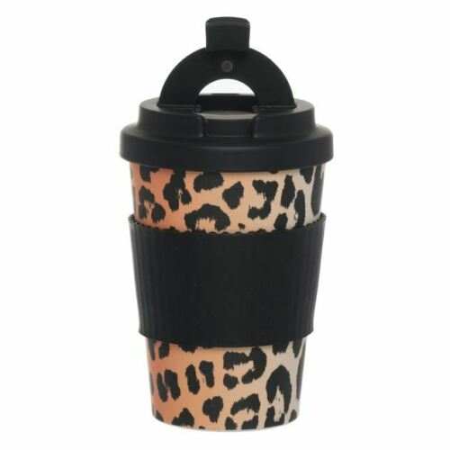 WHSmith Leopard Print Bamboo Fibre Travel Mug With Silicone Band BPA Free 400ml