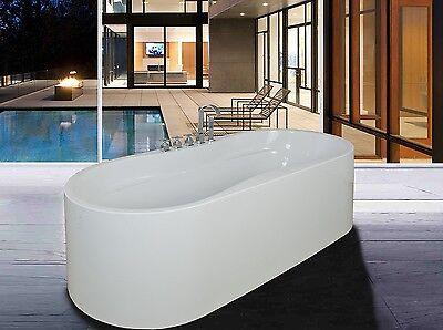 Soaking Bathtub Acrylic White Pedestal Bath Tub W/Faucet Bathroom Shower