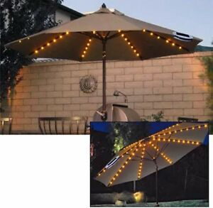 72 LED SOLAR GARDEN PATIO PARASOL UMBRELLA CHAIN LIGHT FAIRY STRING UK SELLER