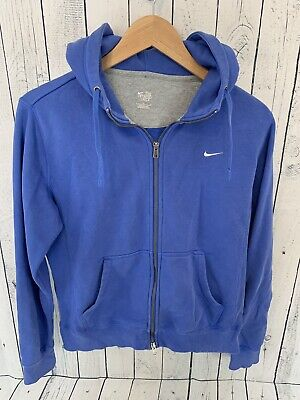 NIKE Women's The Athletic Department Swoosh Logo Full Zip Hoodie Blue Large | eBay