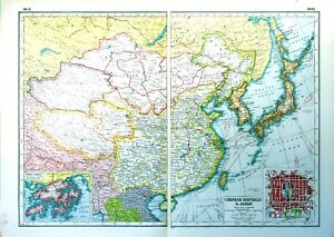 Vintage Antique Original 1920 Print Map Of Chinese Republic & Japan on