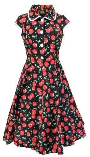 Hearts Dress Red Vintage Cherry Roses amp; Collared HwzZPHOq