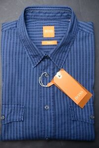 Hugo-Boss-Men-039-s-EdaslimE-Slim-Fit-Med-Blue-Striped-Cotton-Casual-Shirt-New-XL