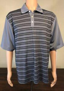 Bolle-039-Men-039-s-Golf-Shirt-Short-Sleeve-034-Tech-034-Polo-Size-L-Blue-Stripe-EUC