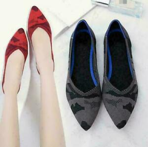 Womens-Pointed-Toe-Knitting-Woven-Pumps-Ballet-Flats-Loafer-Shoes-Retro-Shoes-Sz