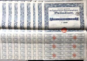Lot de 8 actions de 100 francs des établissements Cinématographiques PALLADIUM