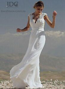Summer Brautkleid Standesamtkleid Chiffon Spitze V Ausschnitt Massanfertigung Ebay