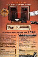 Publicité advertising 1976 la Chaine Hi-Fi Donasonic 2020 par Difor