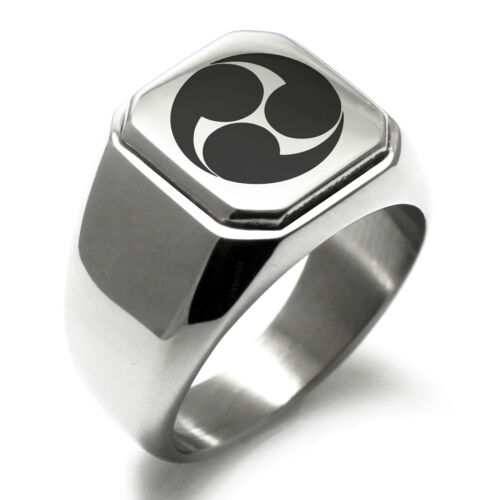 Stainless Steel Kobayakawa Samurai Crest Mens Square Biker Style Signet Ring