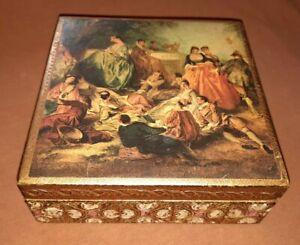 Vintage-Italian-Florentine-Tole-Trinket-Box-Gilt-Wood-with-Romantic-Print