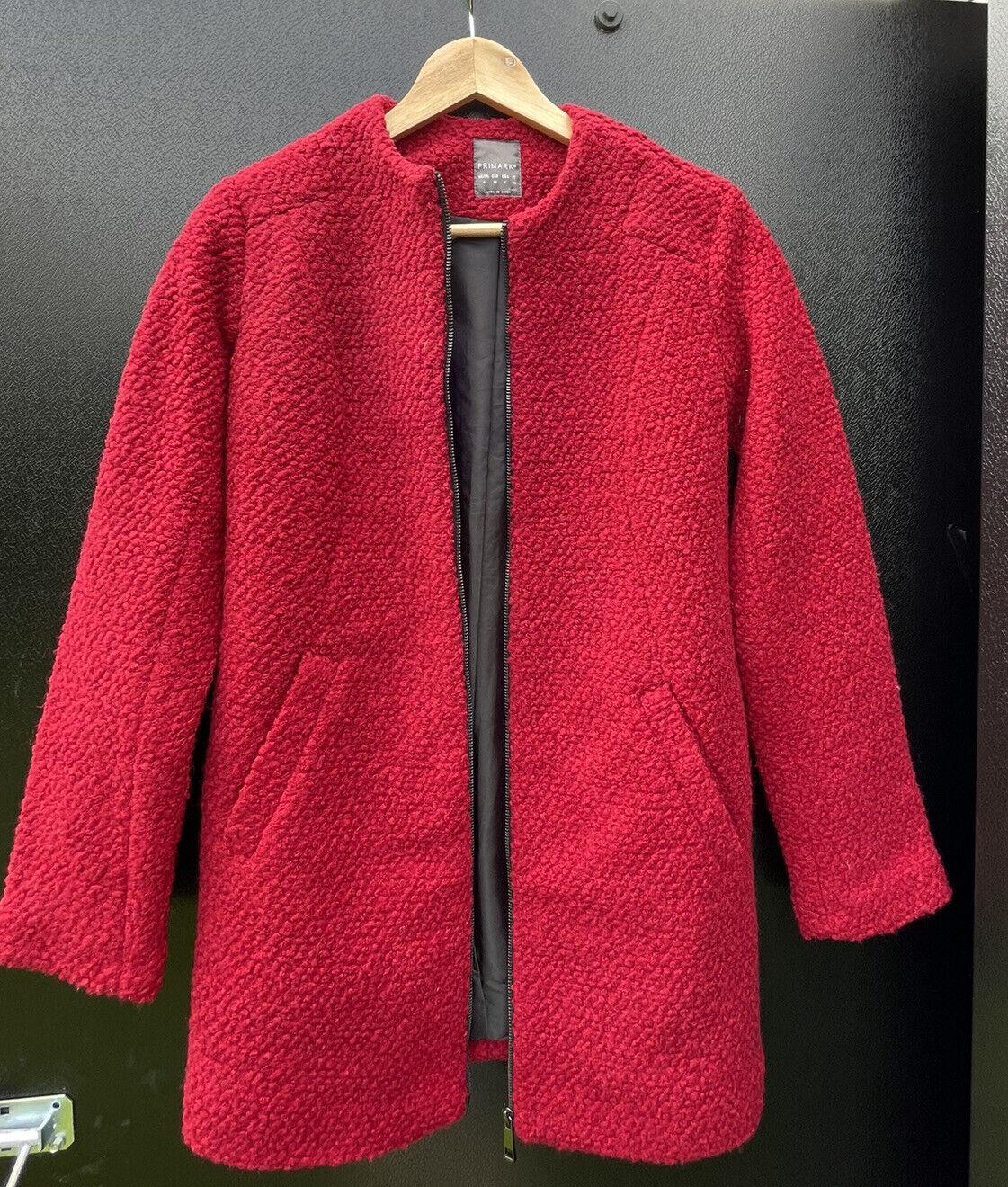 Womans Primark Red Full Zip Coat Size 4 Excellent Condition RRP