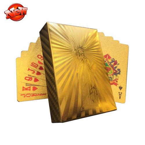 Ouro de plástico impermeável Baralho Luxo Folha Ouro 24K Poker Baralho