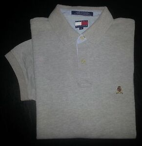 2ae2712e Tommy Hilfiger Shirt Golf Polo L Ash Gray Solid Crest Logo S/S c1001 ...