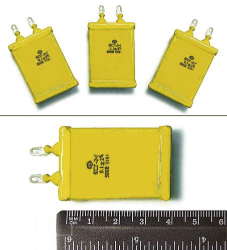 4 pcs 0.1uF 0,1uF .1uF 500V 2/% Silver Mica Capacitors KSG-2 Russian New NOS