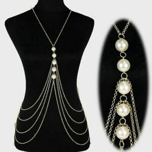 Body-Chain-Jewelry-Long-Necklace-Pearl-Chest-Women-Layered-Punk-2-Colors