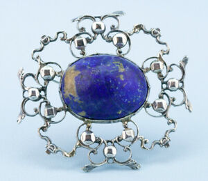 1900-Large-Brooch-Arts-Crafts-Sterling-Silver-Blue-Lapiz-Lazuli-Antique-English