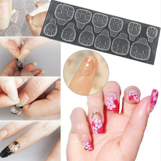 10 Sheets Double Side Glue Sticker Adhesive Tape For Diy Nail Art