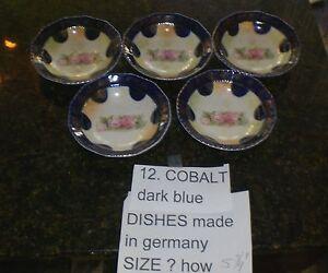 German-Cobalt-Antique-Porcelain-Dessert-Fruit-Rose-Bowl-set-of-5-Gilt