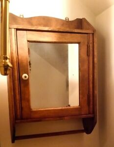Bath Wall Cabinet Vintage Mirror Solid Wood 3 Shelves Extra 2