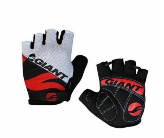 Cycling Finger-less Gloves Unisex White Black Red Size XL 9.5 - 10cm
