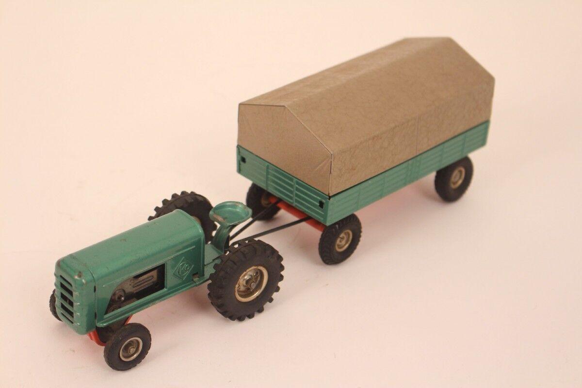 Cko Kellermann Tractor 389 med Pendant Plane grön Tin leksak W. Tyskland
