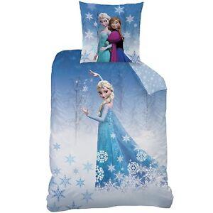 Bettwaesche-Frozen-Anna-Elsa-Eiskoenigin-Kissen-80x80cm-Bettbezug-135x200cm