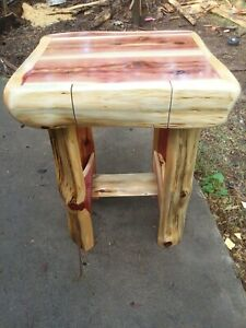 Details About Beautiful Handmade Cedar Log Frame End Table With Drawer