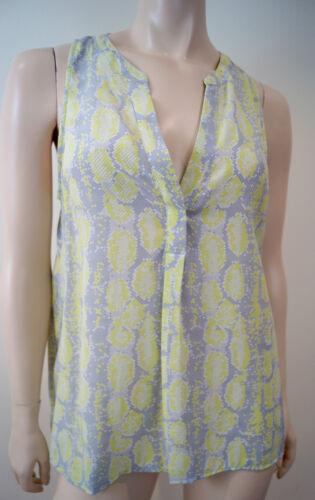 Lime Neck 100 Joie Geometric V amp; M Sleeveless Silk Green Print Grey Top White 5TvXvqnxAa