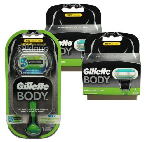 4 Body 3 lamette da barba 1 Gillette Body 5 RASOIO 4 = 5 GILETTE come Set in scatola originale