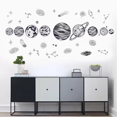 New Cartoon Cosmic Planet Galaxy Wall Sticker Kids Room Outer Space Living Room Ebay
