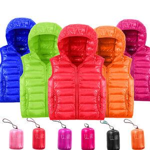 dd681ffa3 Details about Kids Girls Boys Puffer Duck Down Ultra Light Hoodie Vest  Sleeveless Gilet NWT