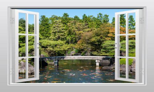 Japanese garden with Koi carp 3D Window Scape Wall Art Mural Sticker VPRNT1038