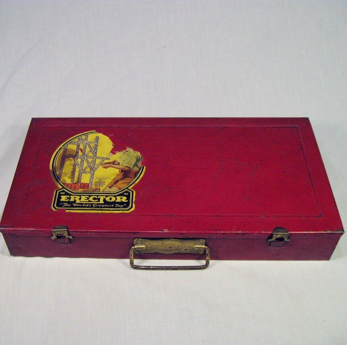 Vintage 1935 Ac Gilbert Erector Set Original Rojo Funda con   Catalog