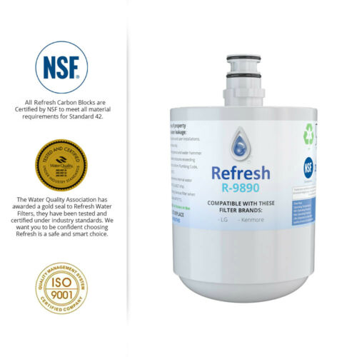 Refresh Replacement Water Filter 3 Pack Fits LG LFX25973ST Refrigerators