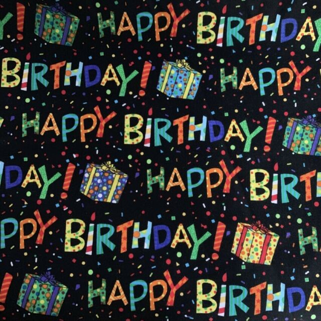 "1 meter by the yard happy birthday 100% Cotton Plain Fabric 110cm 43.3"" wide"