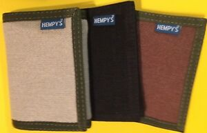 HEMP-fabric-WALLET-Trifold-USA-MADE-black-chain-brown-HEMPY-039-S-tri-fold-Vegan
