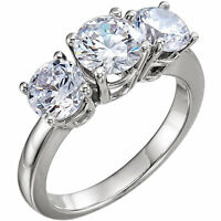 4.01 total, 3 Stone Round DIAMOND Engagement Ring 2 ct center 2 x 1.00 ct side