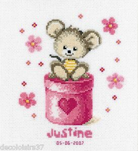 VERVACO 0011946 Tableau de naissance Petite souris rose Point DE Croix   eBay