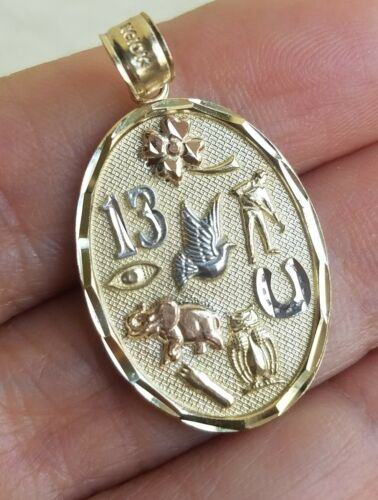 Solid Real 10k Yellow Gold owl elephant good luck Pendant Charm 1.25 inch long