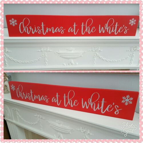 Personalised Wooden Freestanding Christmas At The Surname Sign