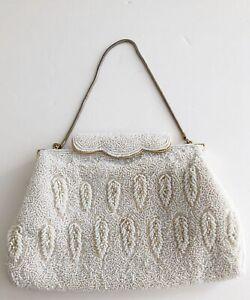 Vintage Beaded Handbag Ivory White Gold