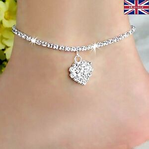 Diamante-Simple-Love-925-Sterling-Silver-Anklet-Foot-Chain-Ankle-Bracelet-A13