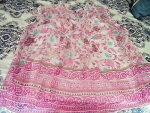 NICE-Womens-XL-SONOMA-Pink-Floral-Sleeveless-BLOUSE-Top-Pleats-Sheer-W-CAMI