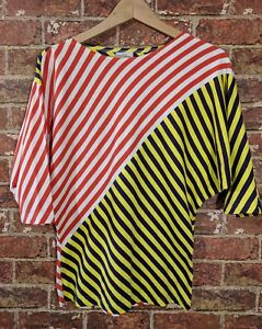 f2b664db MARIMEKKO XS Dolman Sleeve Blouse Striped T-Shirt Top Yellow Red ...