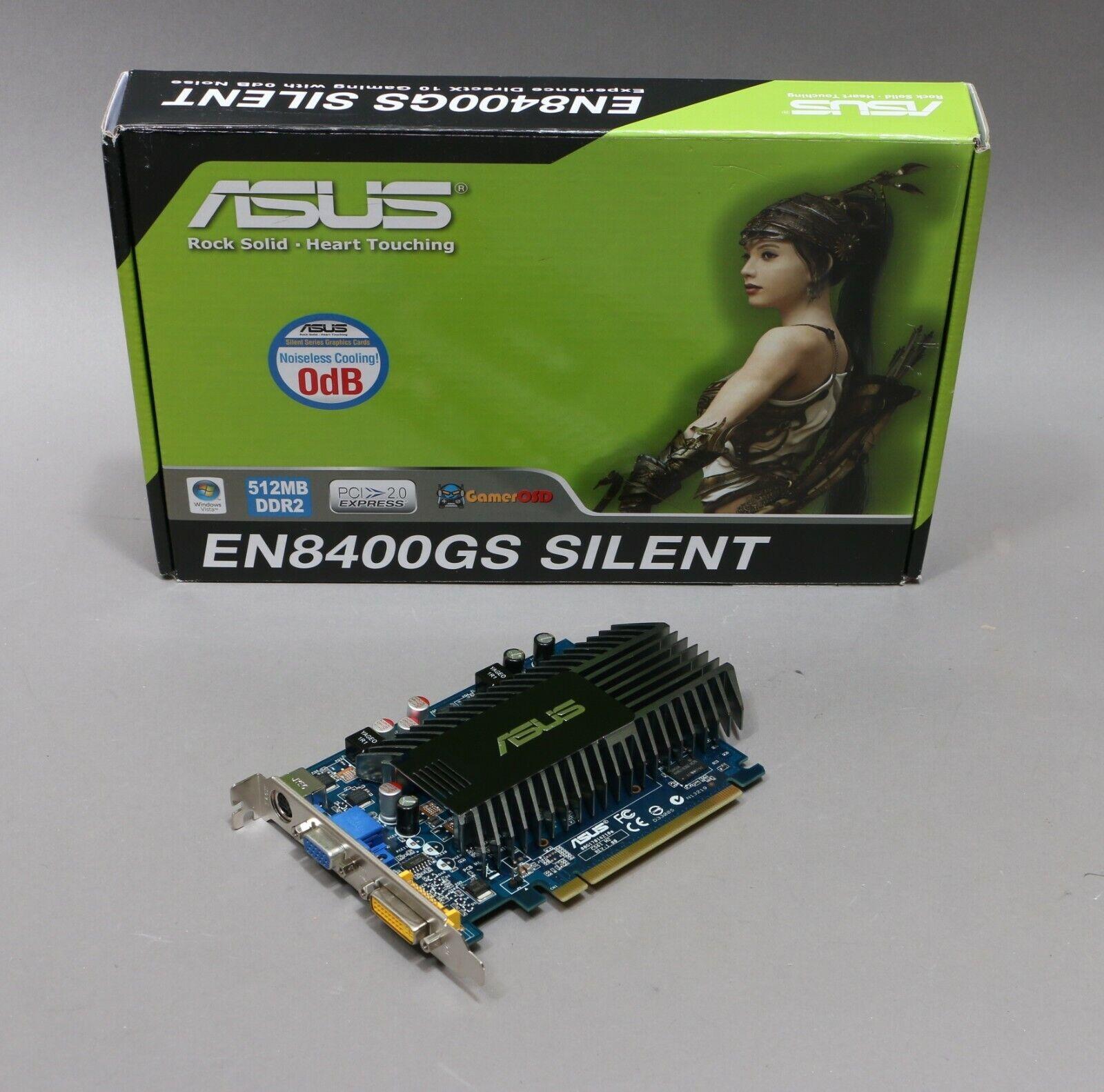 ASUS NVIDIA EN8400GS SILENT 512MB Windows 10 PCI-E 16x Video Card. DVI VGA Ports