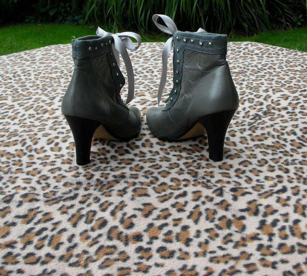 Vintage Gardone Grau Leder high heeled ankle boots UK 3 EU 36