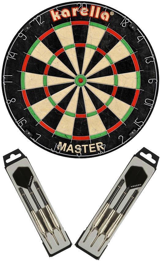 Dartboard Karella Set Master - Board und 2 Satz Steeldarts