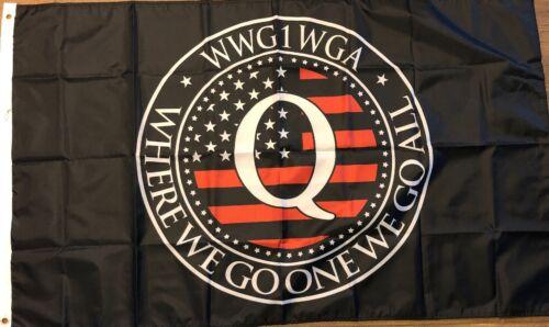 QAnon WWG1WGA Drapeau 3x5 politique Bannière American Trump Man Grotte